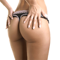 Shapely woman's buttocks in lacy thong underwear