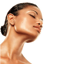 Model with closed eyes showing beautiful, well-defined chin and neckline
