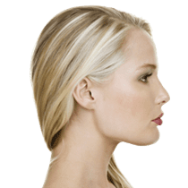 Profile of attractive woman with ideal nose