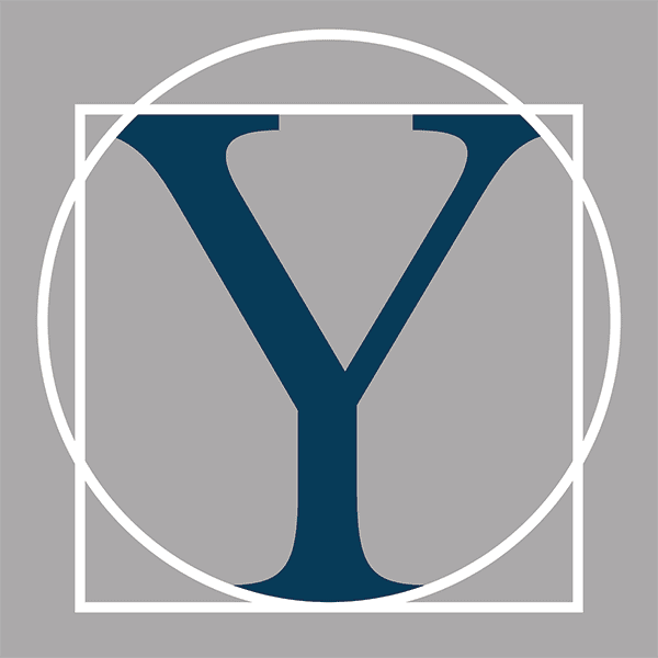 Y Plastic Surgery logo blue on gray background